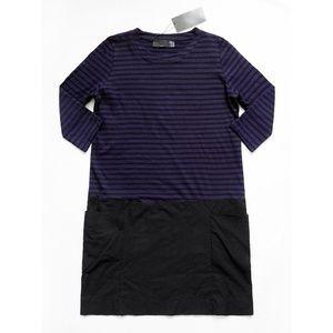 TRAFALUC 3/4 Sleeve Striped Color Block Dress S